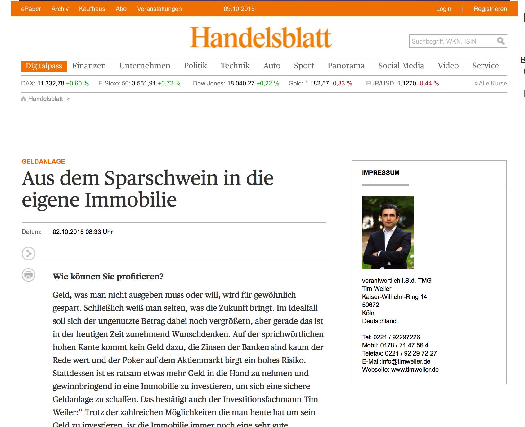 Tim Weiler im Handelsblatt